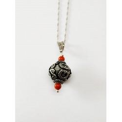 Ciondolo amuleto argento corallo portafortuna