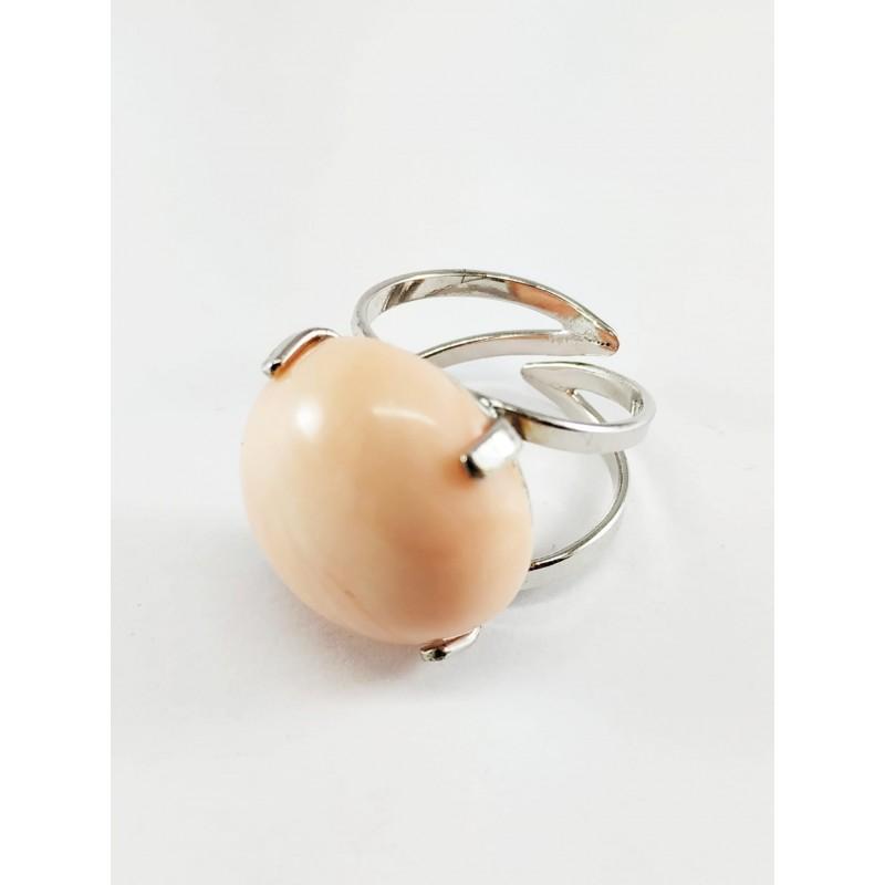Anello argento e cabochon corallo rosa