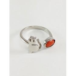 Anello gattino argento e corallo