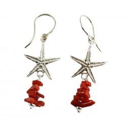 Orecchini stelle marine argento e corallo