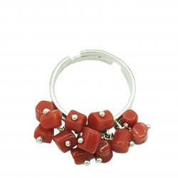 Anello charms corallo e argento