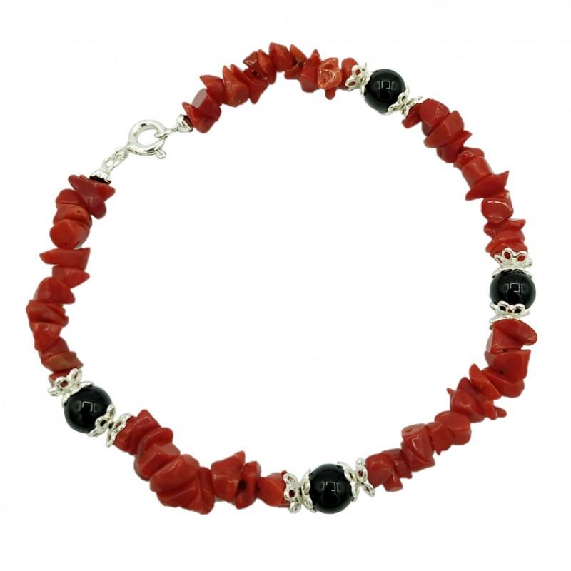 Bracciale corallo rosso, agata nera e argento 925