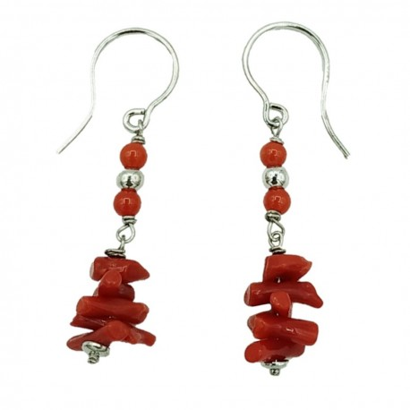 Orecchini argento rodiato e corallo rosso naturale