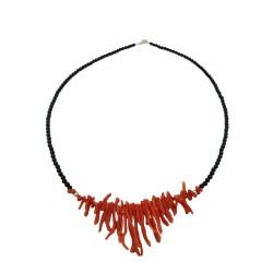 Collana Girocollo Frangia corallo rosso, agata nera e argento