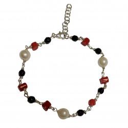 Bracciale modello rosario perle, corallo, agata