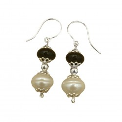 Orecchini perle, agata nera e argento