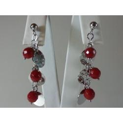Orecchini pendenti in argento rodiato e corallo rosso bamboo