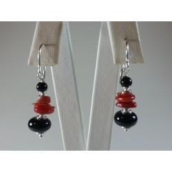 Orecchini argento e corallo rosso naturale e agata nera