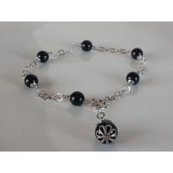 Bracciale catenina argento e pallini in agata nera