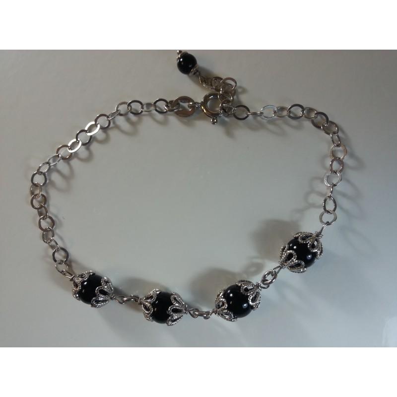 Bracciale argento 925 e pallini in agata nera