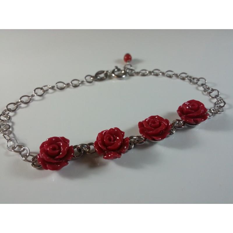 Bracciale argento 925 e rose in resina di corallo rosso