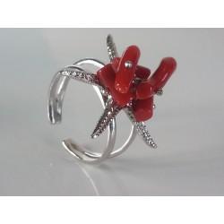 Anello Stella Marina argento 925 e corallo naturale