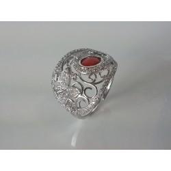 Anello argento rodiato con zirconi e spola corallo naturale