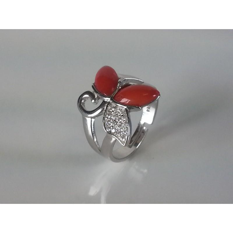 """Anello """"Farfalla"""" in argento 925 con zirconi e spole corallo"""