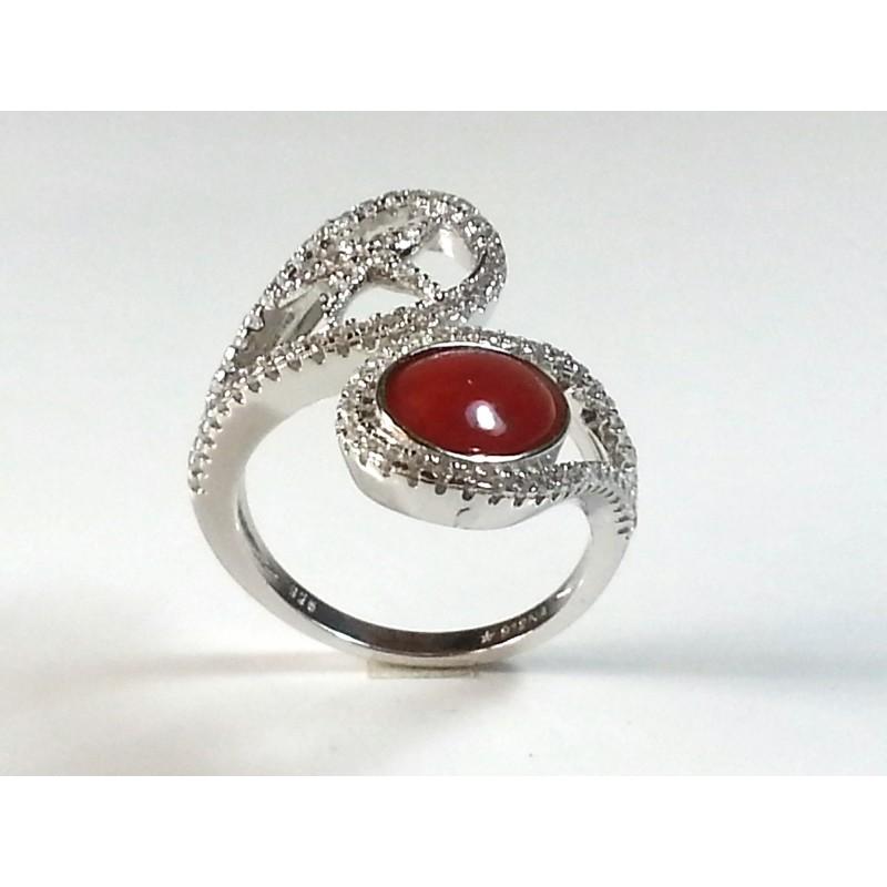 Anello argento 925 con strass e corallo