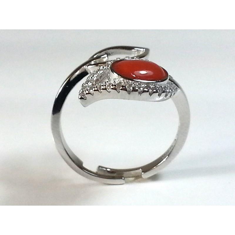"""Anello """"foglia"""" argento 925, strass e corallo"""