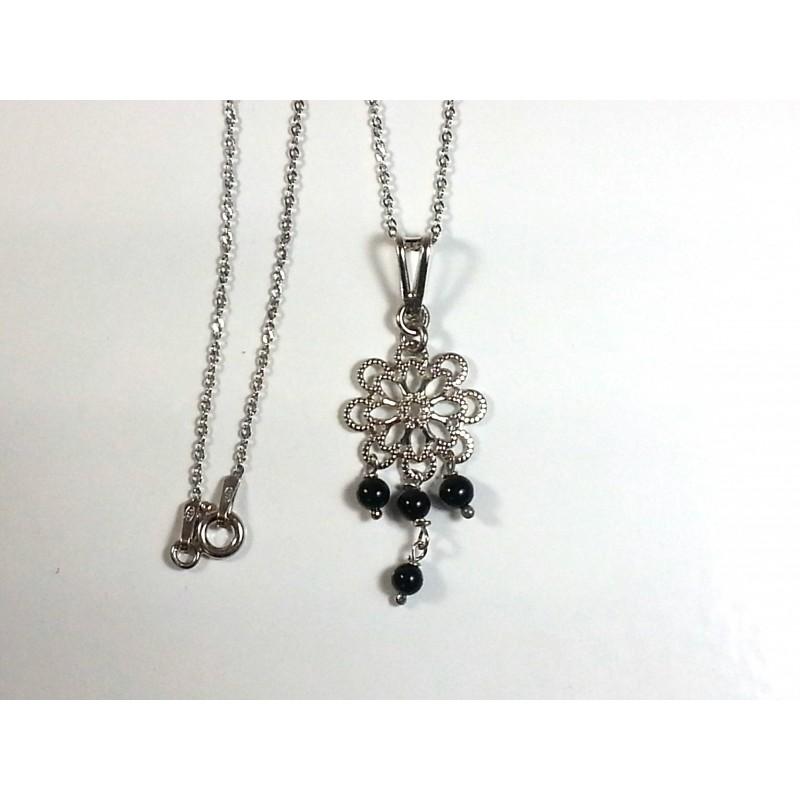 Ciondolo argento 925 e pallini in agata nera