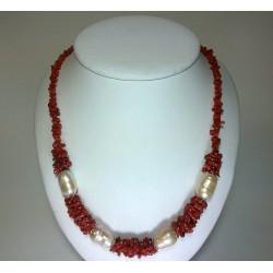 Collana corallo pezzetti corallo e perle di fiume