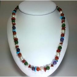 """Collana """"multicolor"""" corallo, pietre dure, perle, argento"""