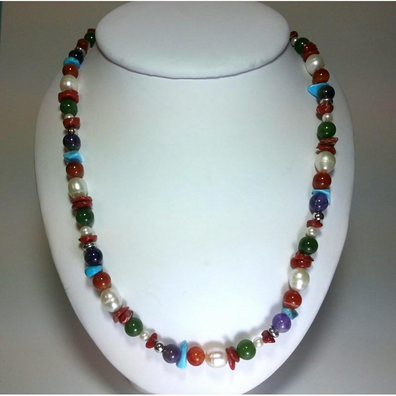 Famoso collana multicolor corallo pietre dure e argento MS73