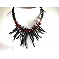 Collana corallo nero e rosso