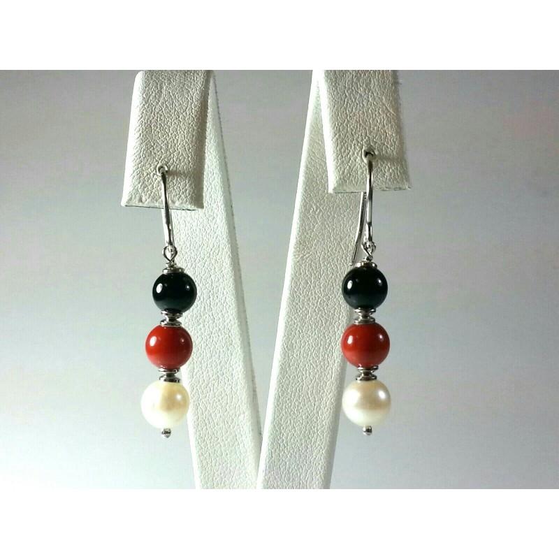 Orecchini argento TRIS, agata nera, corallo rosso e perle