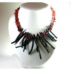 Collana FRANGIA corallo rosso e nero