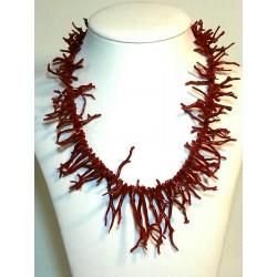 Collana frangia corallo naturale e argento 925