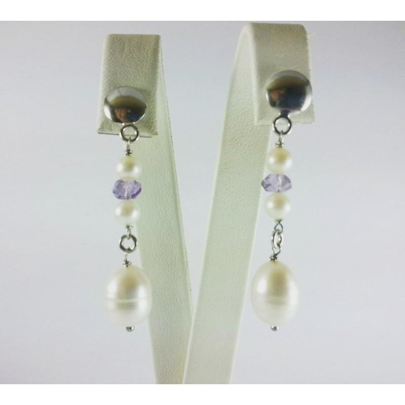 Orecchini perle e ametista con argento