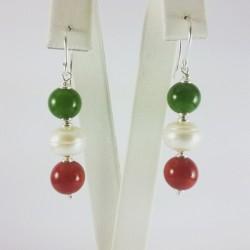 Orecchini Italy Giada, perle e corallo bamboo