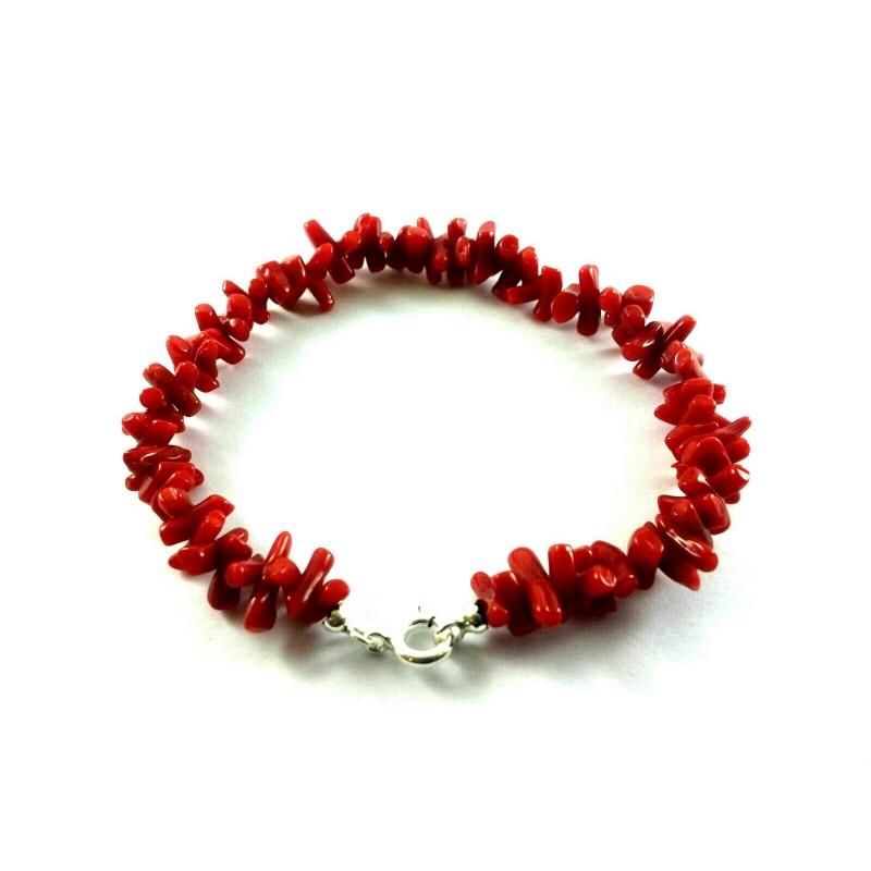 Bracciale pezzetti corallo rosso e argento 925