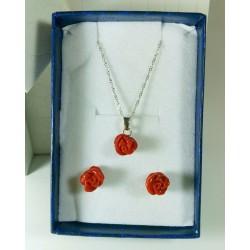 Completo orecchini e ciondolo Rose di corallo e argento