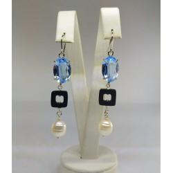 Orecchini lunghi pietre perle swarovski
