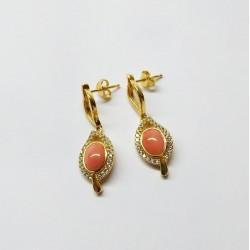 Orecchini foglia argento dorato e corallo rosa