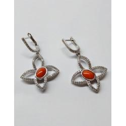 Orecchini farfalla stilizzata argento e corallo