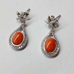 Orecchini goccia e stellina in argento con corallo naturale