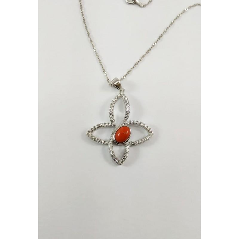 Ciondolo Farfalla argento e corallo rosso