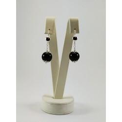 Orecchini pendenti Su coccu agata nera e argento