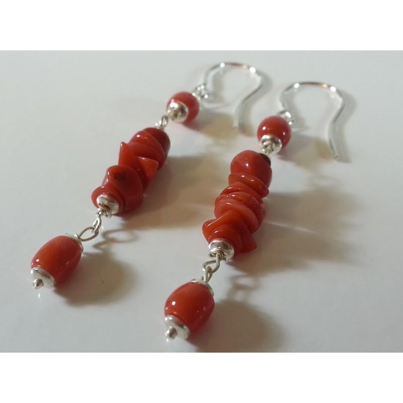 Orecchini argento e corallo rosso naturale