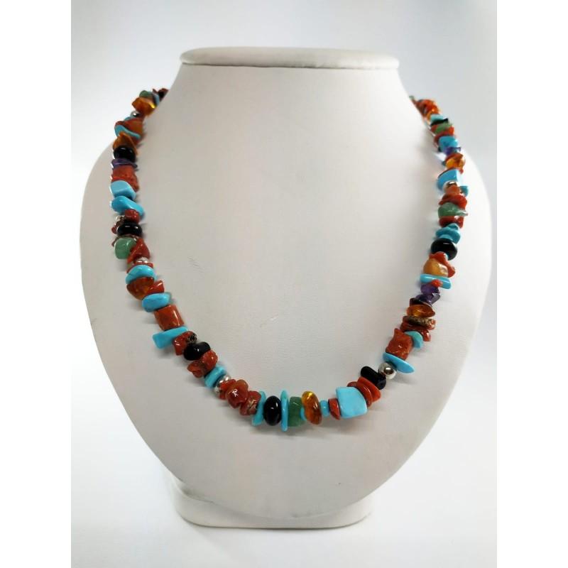 """Collana """"Multicolor"""" corallo, pietre dure e argento 925"""